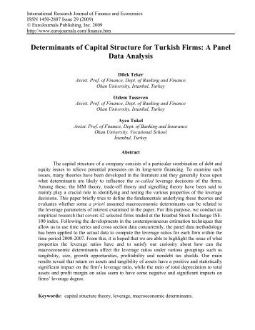 Determinants of Capital Structure for Turkish Firms: A Panel Data ...