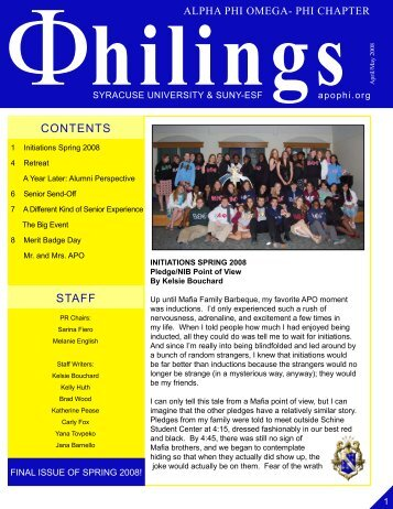 Spring 2008 Philings Issue 3 - Alpha Phi Omega - Phi Chapter