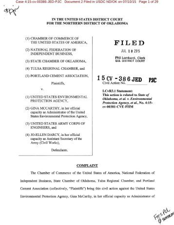 WOTUS Lawsuit Filing 7-10-15