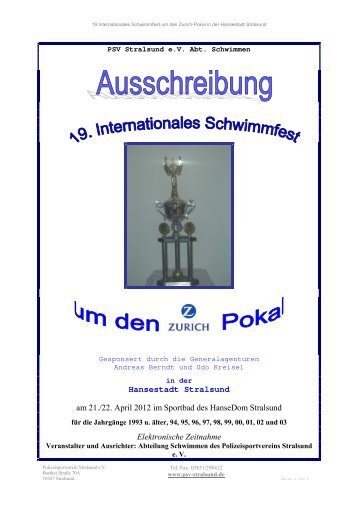 Hansestadt Stralsund am 21./22. April 2012 im Sportbad des ...