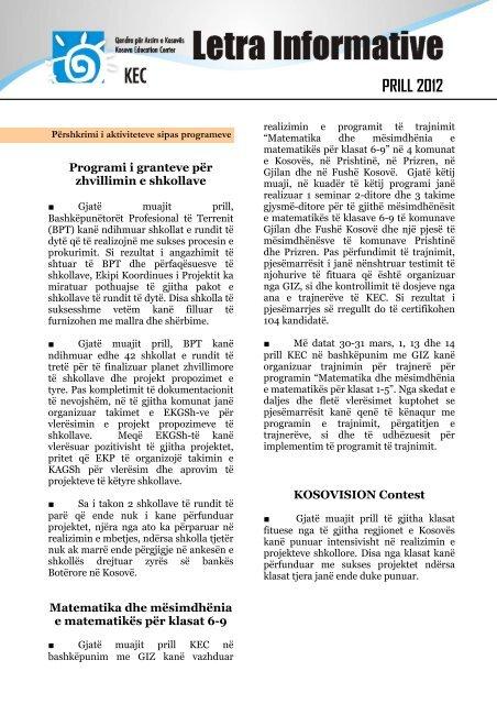 PRILL 2012 - Qendra për Arsim e Kosovës