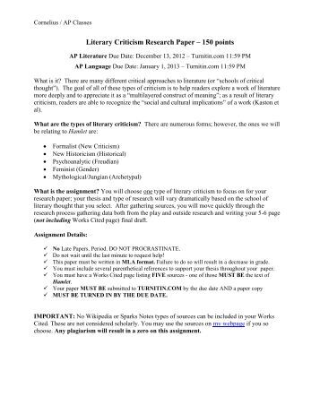 literary criticism research paper Midterm literary analysis papers - successful student examples : english 104 gale research literary analysis paper.