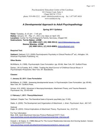 A Developmental Approach to Adult Psychopathology
