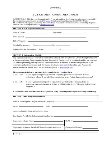 sub recipient commitment form - Office of the Vice President for ...