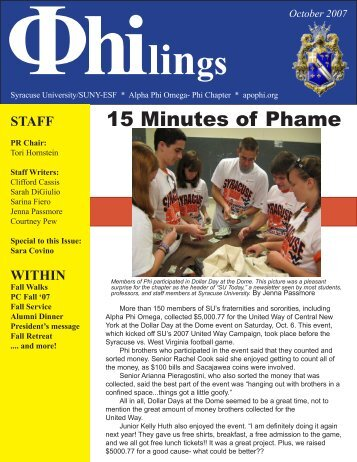 15 Minutes of Phame - Alpha Phi Omega - Phi Chapter