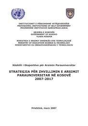 strategjia për zhvillimin e arsimit parauniversitar në kosovë 2007-2017