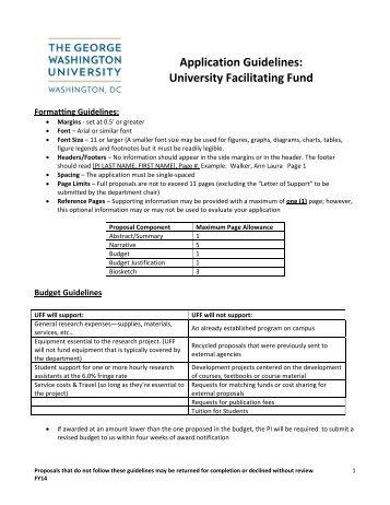 Application Guidelines: University Facilitating Fund