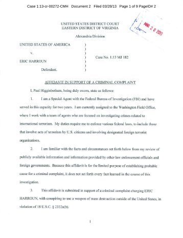 Affidavit In Support Of Criminal Complaint   Intelwire