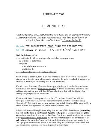 Demonic Fear - Pacific Rim Bible Ministries