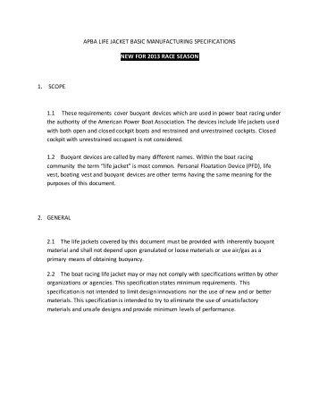 2013-APBA LIFE JACKET BASIC MANUFACTURING ...
