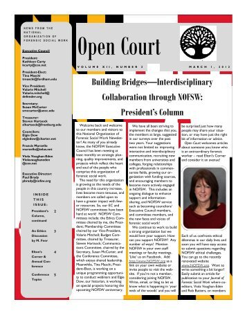 Open Court - National Organization of Forensic Social Work
