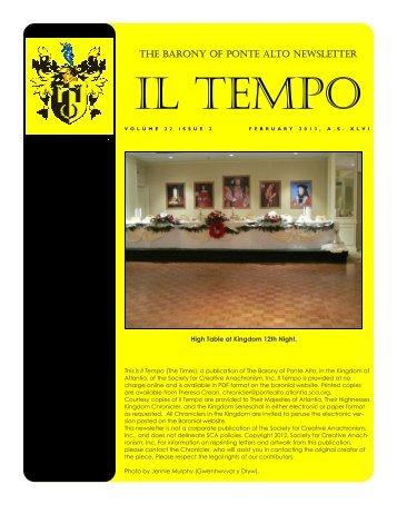 February 2013 - Barony of Ponte Alto - Society for Creative ...