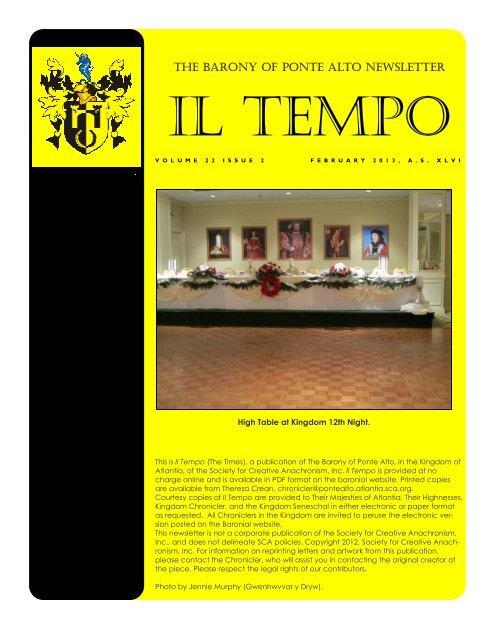 February 2013 - Barony of Ponte Alto - Society for Creative