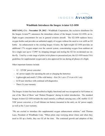Inogen Press Release - Inogen Aviator