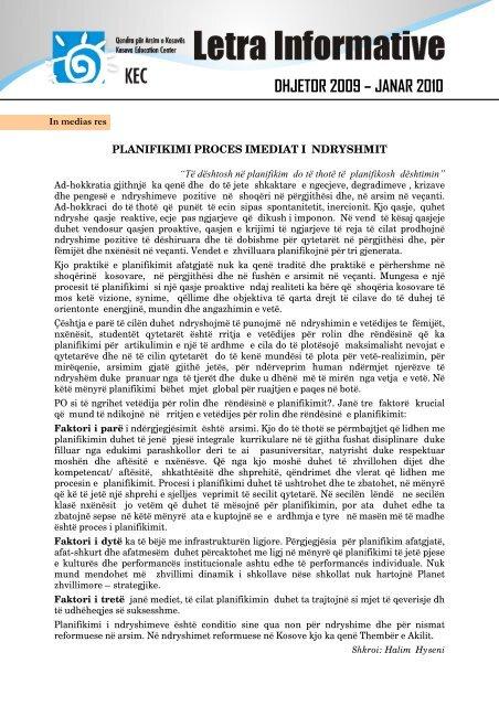 DHJETOR 2009 – JANAR 2010 - Qendra për Arsim e Kosovës