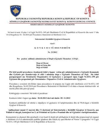 Në bazë të nenit 18 pika 1 të Ligjit Nr.03/L-149 për Sherbimin Civil ...
