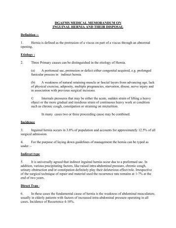 dgafms medical memorandum on inguinal hernia and ... - Indian Army