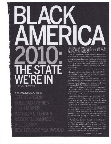 Black America 2010: The State We're In
