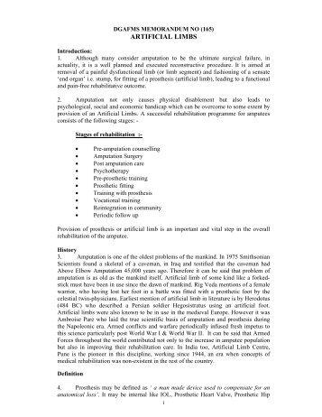 ARTIFICIAL LIMBS - Indian Army