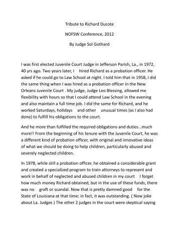 Tribute to Richard Ducote NOFSW Conference, 2012 By Judge Sol ...