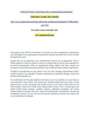 COM 425 Week 5 Final Paper