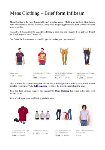 Men's Clothing Online Shopping from Infibeam's