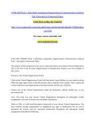 COM 480 Week 1 Individual Assignment Organizational Communication Analysis Part I Descriptive Framework Paper