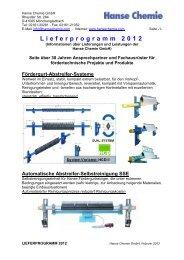 Lieferprogramm 2012 - Hanse Chemie GmbH