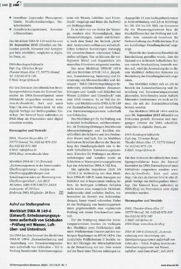 Entwurf des DWA-Merblatts DWA-M 149-6: Dichtheitsprüfung / Druckprüfung von Entwässerungssystemen außerhalb von Gebäuden - Prüfung mit Wasser, Lüftüberdruck und Luftunterdruck (Vakuumprüfung)