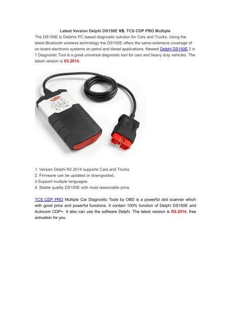 Latest Version Delphi DS150E VS  TCS CDP PRO Multiple