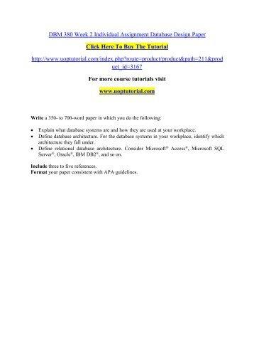 DBM 380 Week 2 Individual Assignment Database Design Paper