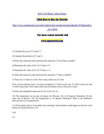 MAT 116 Week 1 Quiz (New)