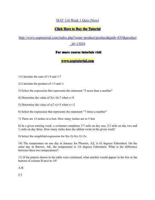 Mat 116 Week 1 Quiz New