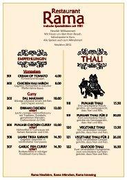 RAMA Neufahrn Speisekarte März 2012 - Restaurant Rama