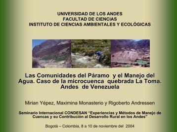 Las Comunidades del páramo y el manejo del agua. caso de la ...