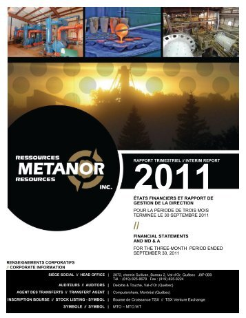 2011 - Metanor Resources Inc.
