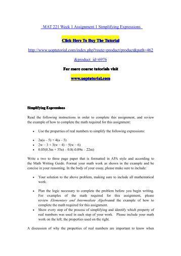 mat 221 week 1 assignment simplifying Mat 221 week 1 5 introduction to algebra 1 mat 221 week 1-5 introduction to algebra download here wwwwonlinehelpstudycom mat 221 week 1-5 introduction to algebra mat 221 week 1 assignment.