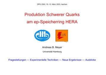 Produktion Schwerer Quarks am ep-Speicherring HERA
