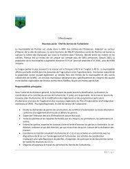 1 | Page Offre d'emploi Nouveau poste - Chef du Service ... - COMBEQ