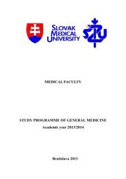 Study programme of General medicine (Academic year 2013/2014)