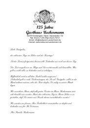 125 Jahre Gasthaus Ueckermann - Restaurant Ueckermann