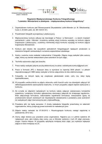 Regulamin Międzynarodowego Konkursu Fotograficznego ... - Lublin