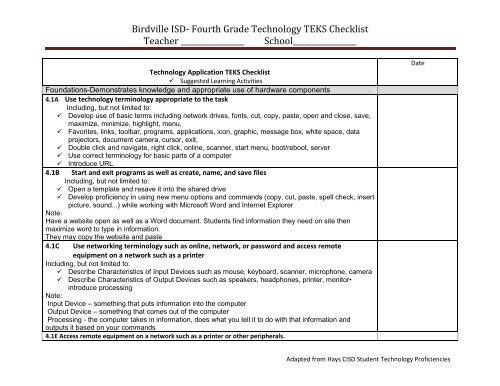 Birdville ISD Fourth Grade Technology TEKS Checklist