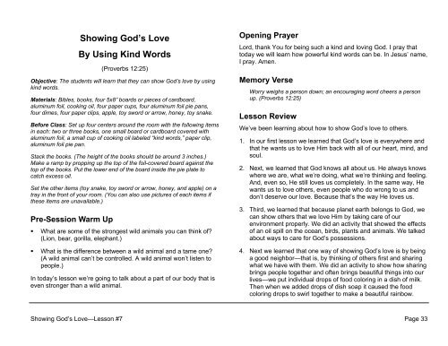 Lesson 7: Showing God's Love By Using Kind Words