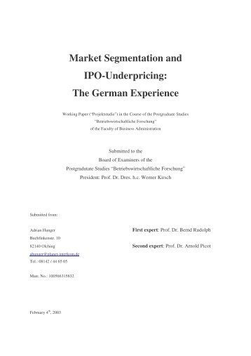 Market Segmentation and IPO-Underpricing: The German Experience
