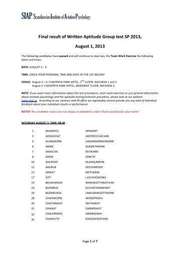 Final result of Written Aptitude Group test SP 2013.pdf - tg pilot ...