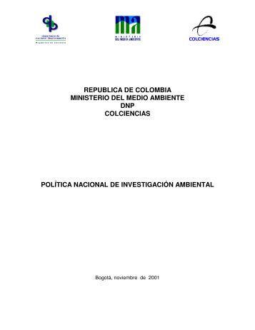 republica de colombia ministerio del medio ambiente dnp ...
