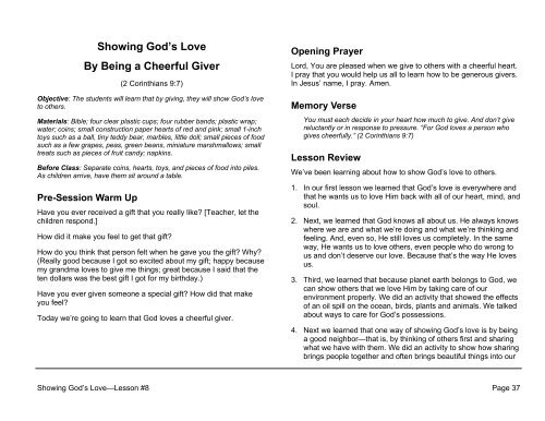 Lesson 8: Showing God's Love By Being a Cheerful Giver