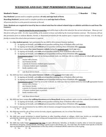 weekend and day trip permission form (2013-2014) - The Gunnery