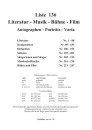 Liste 136 Literatur - Musik - B€hne - Film - Wiener Antiquariat Ingo ...